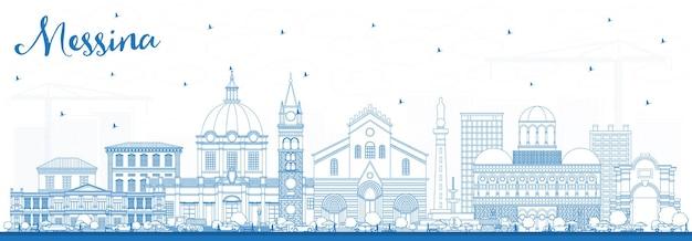 Profilo messina sicilia italia skyline della città con edifici blu.
