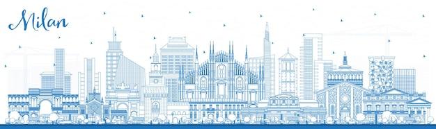 Profilo dello skyline della città di milano italia con edifici blu. illustrazione di vettore. viaggi d'affari e concetto con architettura storica. paesaggio urbano di milano con punti di riferimento.