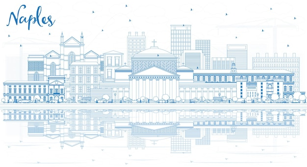 Profilo dello skyline della città di napoli italia con edifici blu e riflessi. illustrazione di vettore. viaggi d'affari e concetto di turismo con architettura moderna. paesaggio urbano di napoli con punti di riferimento.