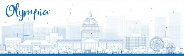 Contorno skyline di olympia (washington) con edifici blu