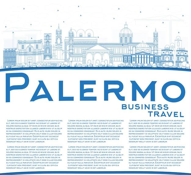 Orizzonte di contorno palermo italia città con edifici blu e spazio di copia. illustrazione di vettore. viaggi d'affari e concetto di turismo con architettura storica. palermo sicilia paesaggio urbano con punti di riferimento.