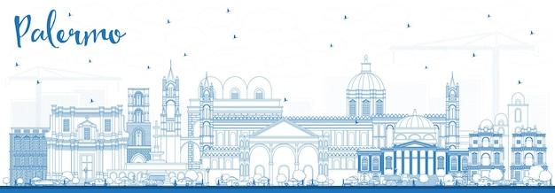 Orizzonte di contorno palermo italia città con edifici blu. illustrazione di vettore. viaggi d'affari e concetto di turismo con architettura storica. palermo sicilia paesaggio urbano con punti di riferimento.