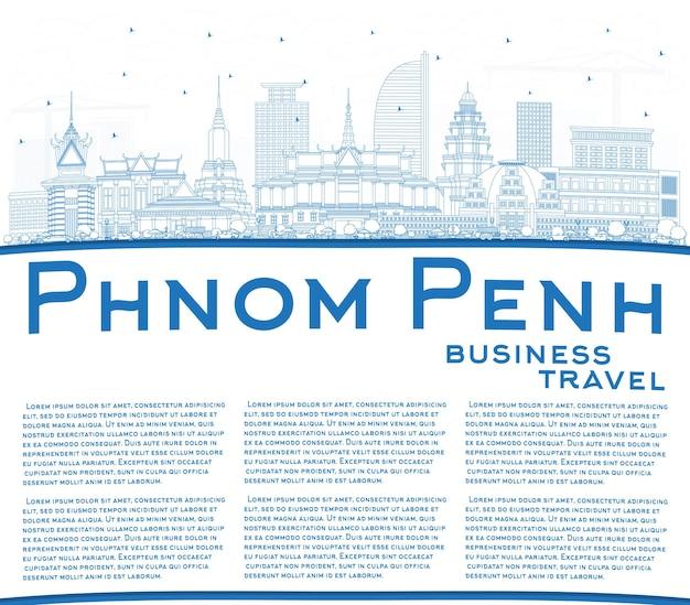 Profilo dello skyline della città di phnom penh cambogia con edifici blu e spazio di copia. illustrazione di vettore. viaggi d'affari e concetto di turismo con architettura storica. phnom penh cityscape con punti di riferimento.