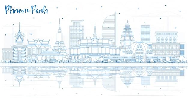 Profilo dello skyline della città di phnom penh cambogia con edifici blu e riflessi. illustrazione di vettore. viaggi d'affari e concetto di turismo con architettura storica. phnom penh cityscape con punti di riferimento.