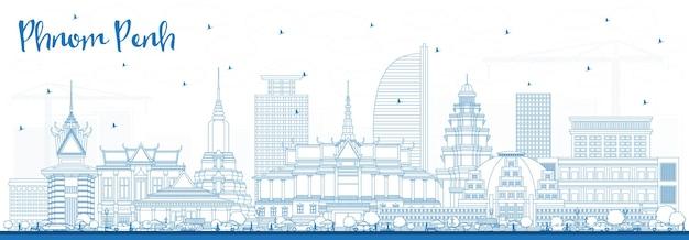 Profilo dello skyline della città di phnom penh cambogia con edifici blu. illustrazione di vettore. viaggi d'affari e concetto di turismo con architettura storica. phnom penh cityscape con punti di riferimento.
