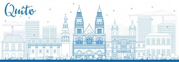 Profilo dello skyline di quito con edifici blu.