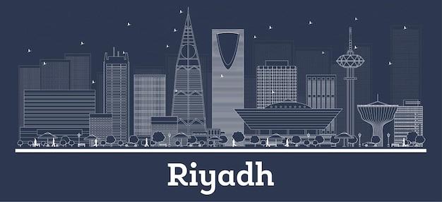 Profilo dello skyline della città di riyadh arabia saudita con edifici bianchi. illustrazione di vettore. viaggi d'affari e concetto con architettura moderna. paesaggio urbano di riyadh con punti di riferimento.