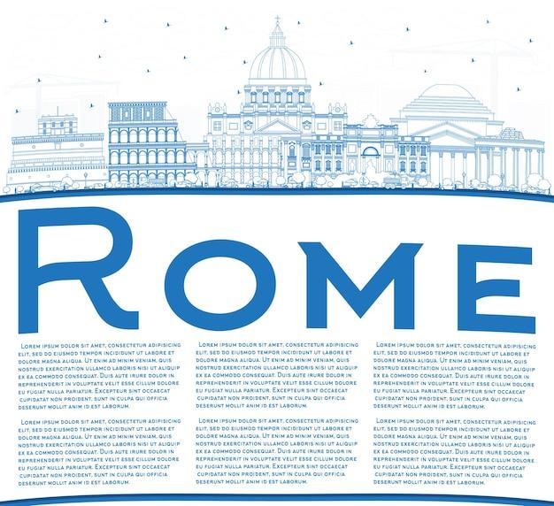 Delineare lo skyline della città di roma italia con edifici blu e spazio di copia. illustrazione di vettore. viaggi d'affari e concetto con architettura storica. paesaggio urbano di roma con punti di riferimento.