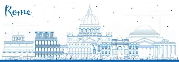Delineare lo skyline della città di roma italia con edifici blu. illustrazione