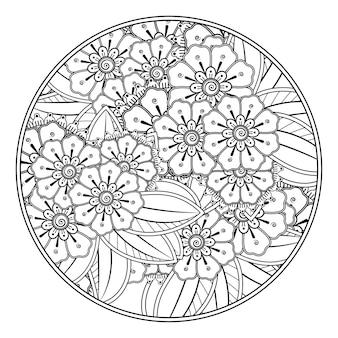 Delinea il fiore rotondo in stile mehndi per colorare l'ornamento di doodle della pagina in bianco e nero.