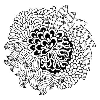 Outline fiore rotondo in stile mehndi.