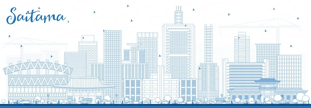 Profilo dello skyline della città di saitama giappone con edifici blu. illustrazione di vettore. viaggi d'affari e concetto di turismo con architettura moderna. paesaggio urbano di saitama con punti di riferimento.