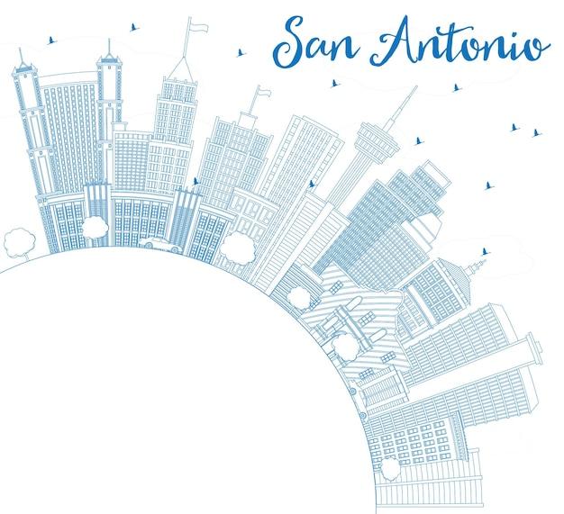 Delineare lo skyline di san antonio con edifici blu e spazio di copia. illustrazione di vettore. viaggi d'affari e concetto di turismo con architettura moderna. immagine per presentazione banner cartellone e sito web.