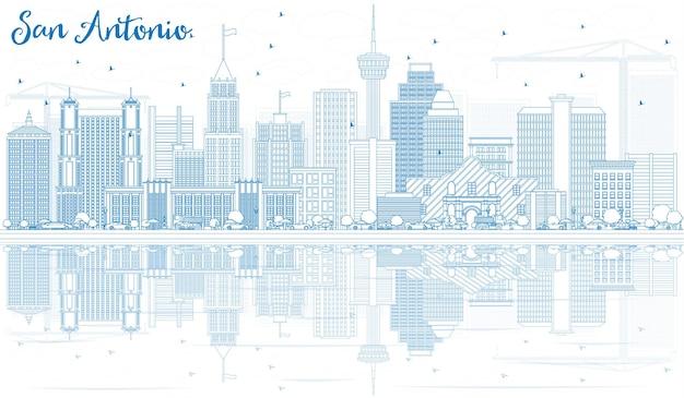 Delinea lo skyline di san antonio con edifici blu e riflessi. illustrazione di vettore. viaggi d'affari e concetto di turismo con architettura moderna. immagine per presentazione banner cartellone e sito web.