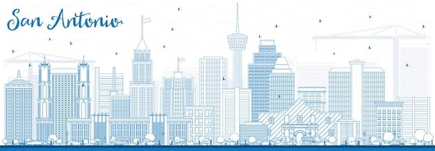 Profilo dello skyline di san antonio con edifici blu. illustrazione di vettore. viaggi d'affari e concetto di turismo con architettura moderna. immagine per presentazione banner cartellone e sito web.