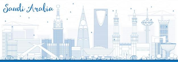 Contorni arabia saudita skyline con punti di riferimento blu.