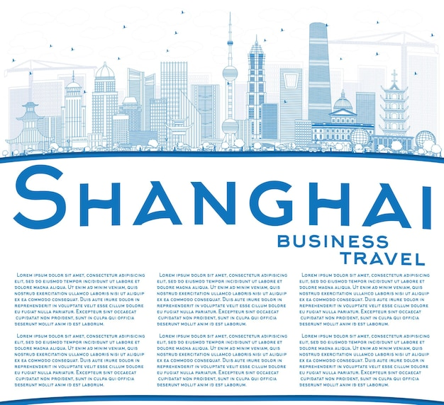 Profilo dello skyline di shanghai in cina con edifici blu