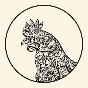 Outline skecth simbolo del gallo capodanno cinese, stile inchiostro, illustrazione di tiraggio a mano libera