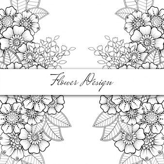 Delinea il motivo floreale quadrato in stile mehndi. ornamento di doodle in bianco e nero. illustrazione di tiraggio della mano