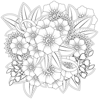 Outline motivo floreale quadrato in stile mehndi. ornamento di doodle in bianco e nero. illustrazione di tiraggio della mano.