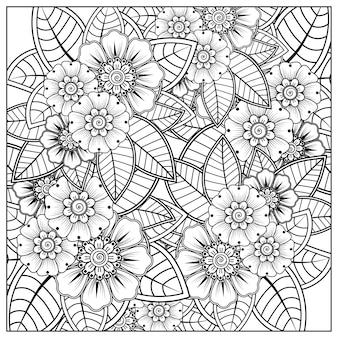 Delinea il motivo floreale quadrato in stile mehndi per l'ornamento di doodle della pagina del libro da colorare in illustrazione di disegno a mano in bianco e nero