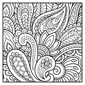 Contorno quadrato con fiori in stile mehndi.