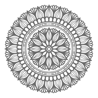Illustrazione di mandala disegnata a mano stile contorno con stile cerchio