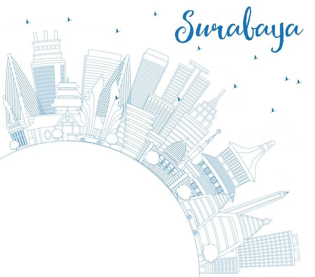 Delineare lo skyline di surabaya con edifici blu e spazio di copia. illustrazione di vettore. viaggi d'affari e concetto di turismo con architettura moderna. immagine per presentazione banner cartellone e sito web.