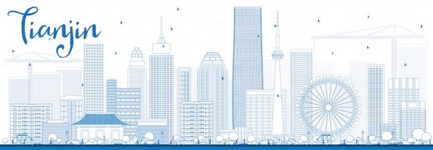 Contorno tianjin skyline con edifici blu.