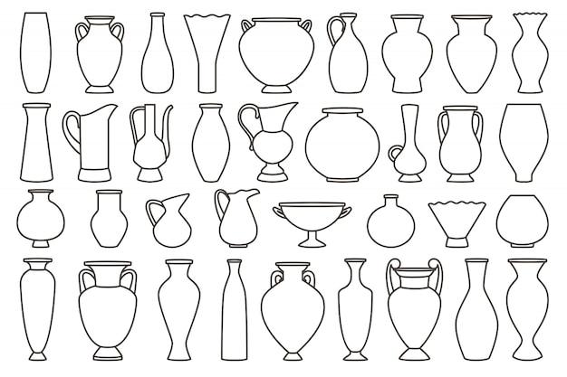 Collezione di vasi e anfora, lineari