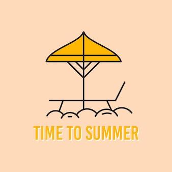 Delineare il modello di progettazione della maglietta vettoriale con ombrellone e sedia e scritta time to summer su sfondo giallo