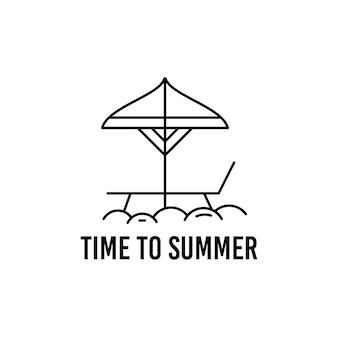 Delineare il modello di progettazione della maglietta vettoriale con ombrellone e sedia e scritta time to summer