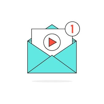 Notifica video di contorno nella lettera. concetto di posta elettronica, condivisione di film, canale, chat, livestream, pulsante, file, seo. isolato su sfondo bianco. illustrazione vettoriale di design moderno logo tendenza piatta
