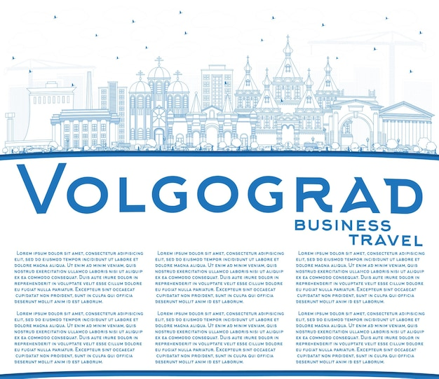 Outline volgograd russia skyline della città con edifici blu e copia spazio. viaggi d'affari e concetto di turismo con architettura storica. volgograd cityscape con punti di riferimento.