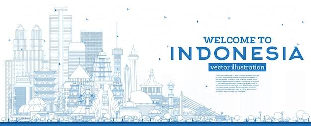 Delinea il benvenuto allo skyline dell'indonesia con l'illustrazione blu degli edifici