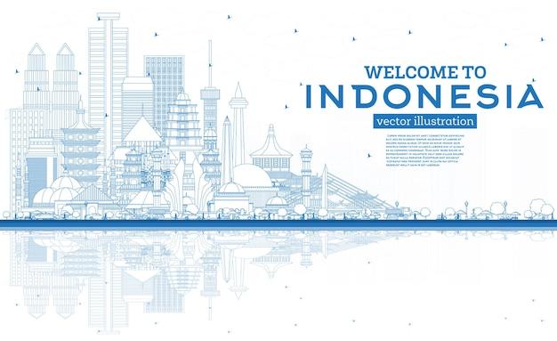 Delinea il benvenuto allo skyline dell'indonesia con edifici blu e illustrazione di riflessi