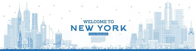 Delinea il benvenuto allo skyline di new york usa con edifici blu