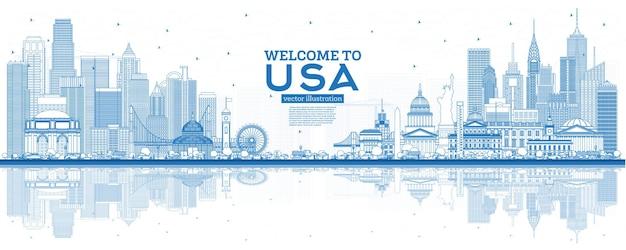 Profilo benvenuto nello skyline di usa con edifici blu e riflessi. monumenti famosi negli stati uniti. illustrazione
