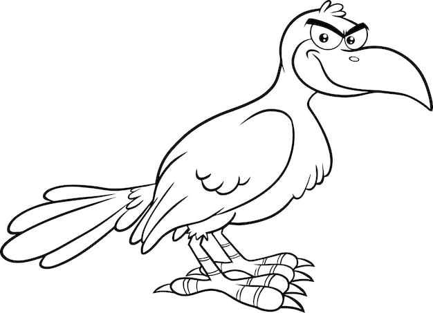 Delineato l'illustrazione sorridente del personaggio dei cartoni animati dell'uccello del corvo isolato su fondo bianco