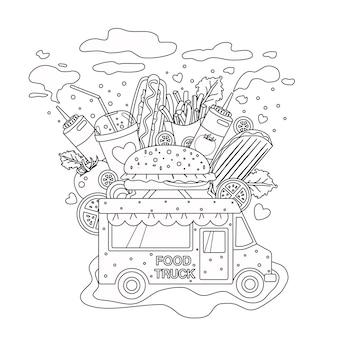 Delineato, vettore, scarabocchiare, antistress, libro colorante, pagina, fast food, camion, per, adulti, e, children