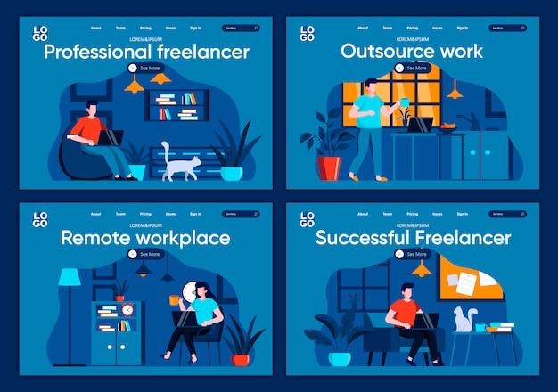 Set di pagine di destinazione piane di lavoro in outsourcing. designer e sviluppatori che lavorano nelle scene di home office per siti web o pagine web cms. illustrazione di libero professionista professionale e di successo sul posto di lavoro remoto