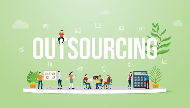 Grande testo di concetto di affari di esternalizzazione con la gente
