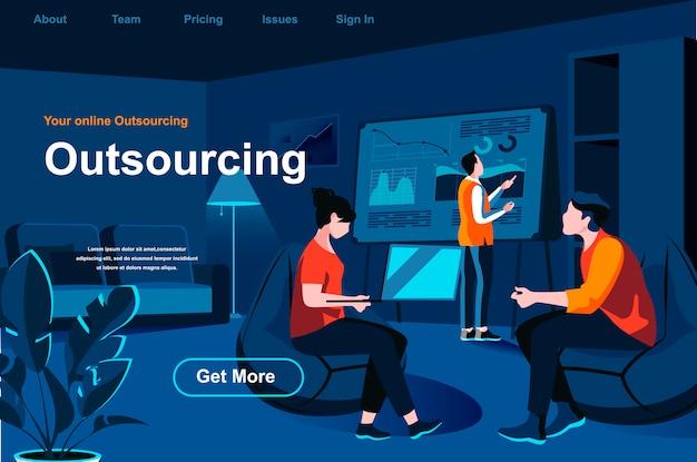 Pagina di destinazione isometrica del servizio di outsourcing.