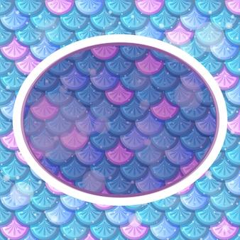 Modello di cornice ovale su sfondo di squame di pesce arcobaleno blu