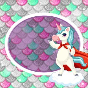 Modello di cornice ovale su squame di pesce colorato con simpatico personaggio dei cartoni animati di unicorno