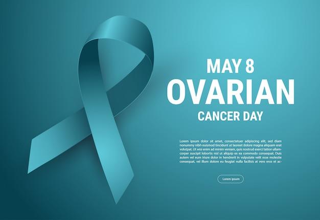 Disegno del manifesto di calligrafia di consapevolezza del cancro ovarico. realistic teal ribbon. settembre è il mese della consapevolezza del cancro. illustrazione