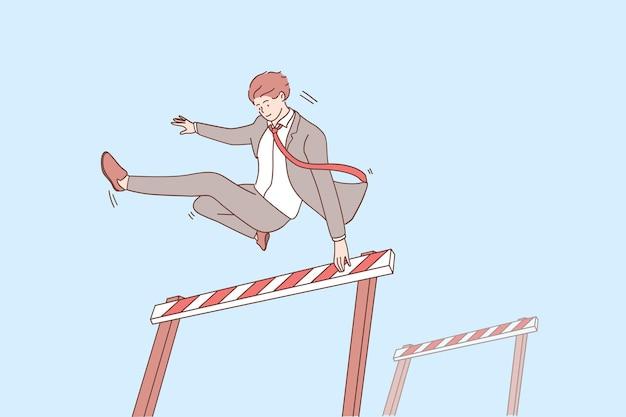 Superare gli ostacoli e il concetto di leadership. giovane personaggio dei cartoni animati sorridente fiducioso dell'uomo d'affari che salta sopra l'ostacolo