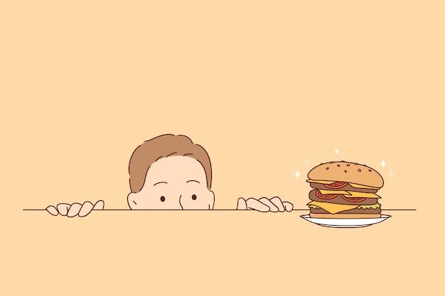 Concetto di fame di nutrizione eccessiva