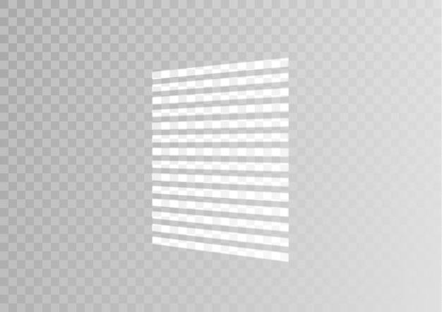 Effetto ombra sovrapposto. finestra trasparente sovrapposta e ombreggiatura persiane. effetto luce realistico di ombre e illuminazione naturale su uno sfondo trasparente. illustrazione
