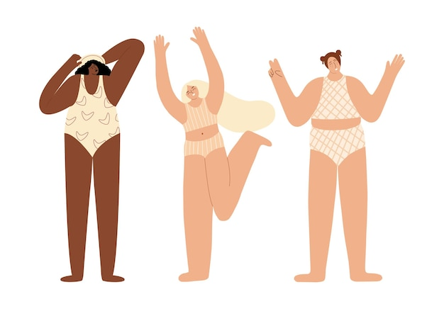 Set di personaggi femminili in sovrappeso donne felici e positive per il corpo di diverse razze